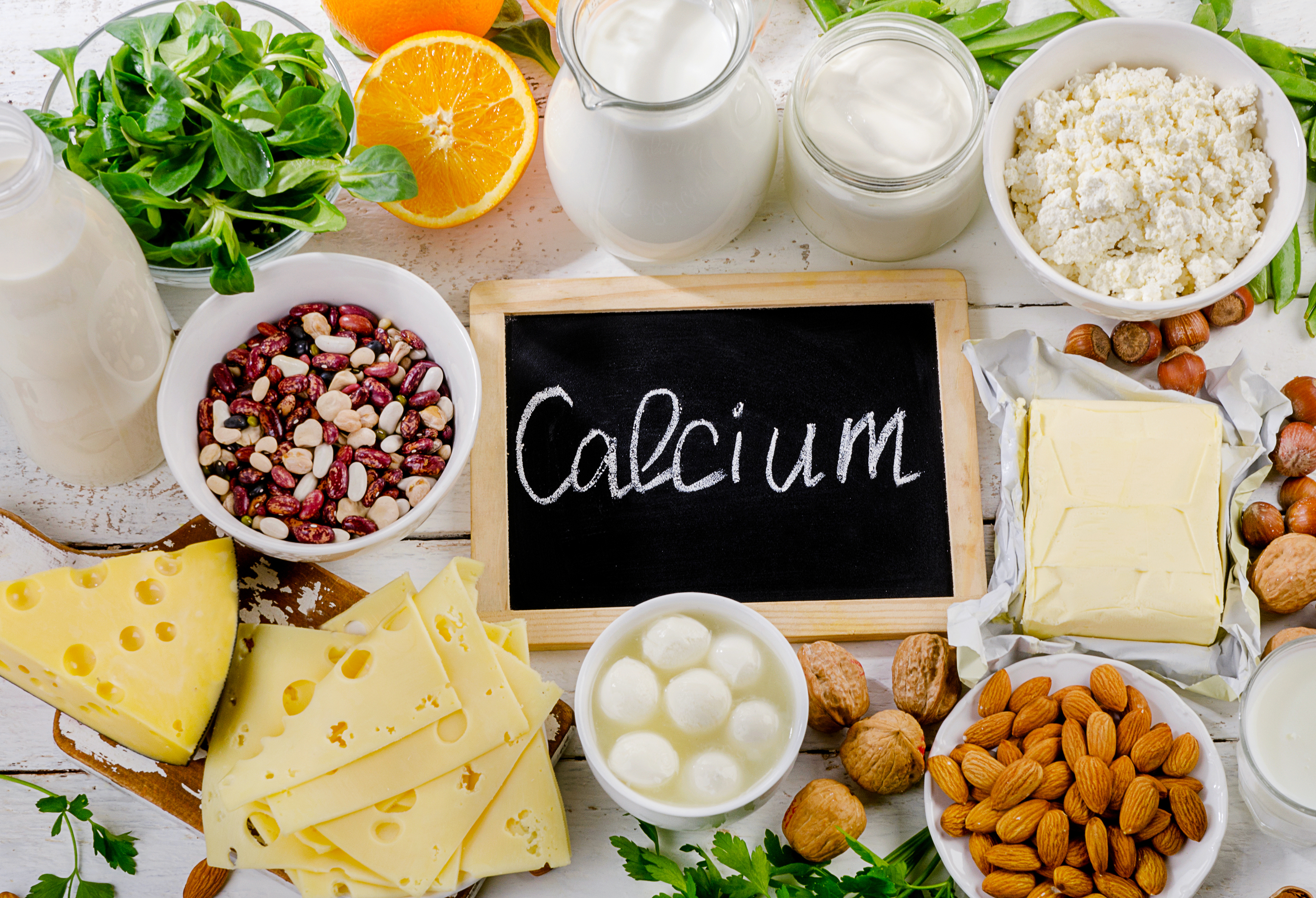 Calcium is found in foods like dairy, nuts and dark, leafy greens.